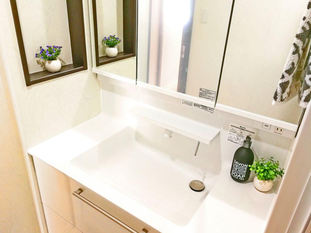 独立洗面台にも収納スペースがたくさんあります